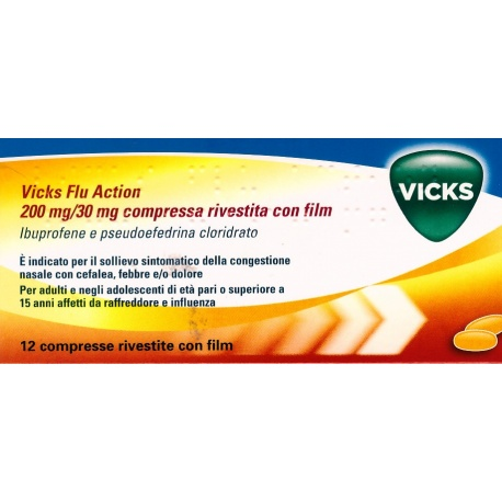 VICKS FLU ACTION*12CPR200+30MG